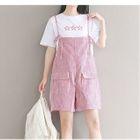 Set: Short-Sleeve T-Shirt + Pinstriped Jumper Shorts 1596