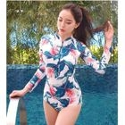 Long-Sleeve Floral Swimsuit 1596