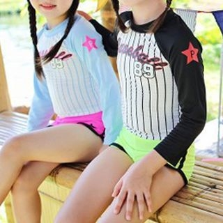 Kids Set: Lettering Rashguard + Star Print Swim Shorts 1061121126