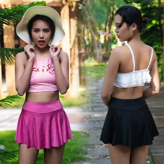 Image of Set: Ruffle Trim Swim Top + Skirt