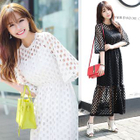 Set : Perforated Elbow-Sleeve Dress + Strappy Dress 1596