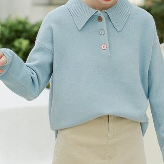 Sweater   Collar   Polo   Blue   Size   One
