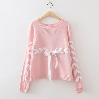 Lace Up Knit Top 1054899237