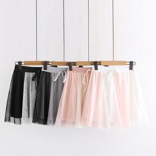 Image of Band-Waist Mesh Panel Mini A-Line Skirt