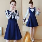 Floral Print Long-Sleeve Mock Two-Piece Dress 1596