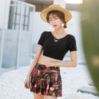 Set: Short-Sleeve Bikini Top + Print Swim Skirt 1596