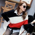 Asymmetric-Hem Color-Block Sweater