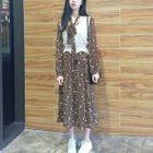 Set: Floral Print Midi Chiffon Dress + Knit Vest 1596