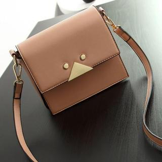 Faux-Leather Metal-Accent Cross Bag