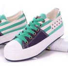 Stripe and Star Print Platform Sneakers 1596