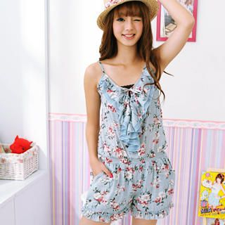 Picture of 59 Seconds Floral Print Playsuit Blue - One Size 1022973341 (59 Seconds Pants, Hong Kong Pants)