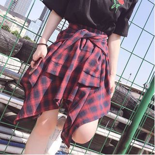 Image of Asymmetric Tie-Waistline Plaid A-Line Skirt
