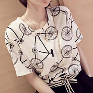 Image of Short-Sleeve Bicycle Print T-Shirt