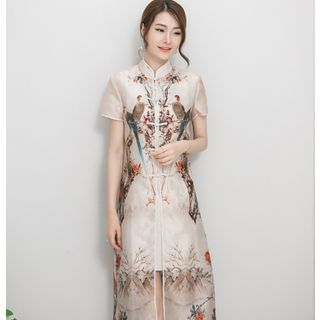 Floral Print Mandarin Collar Short Sleeve Dress 1050793060