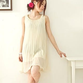 Buy Fashion Lady Sleeveless Pleated Chiffon Dress 1022364086