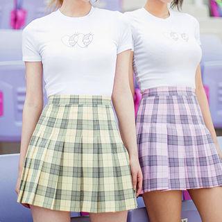 Pleated Plaid Mini Skirt 1050416690