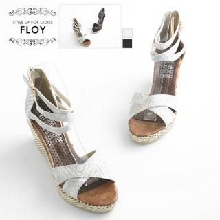 Buy FLOY SHOES Cross-Strap Wedge Sandals 1023053824