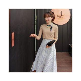 Patterned Tie-Neck Knit Top 1058253103