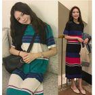 Striped Short Sleeve Midi T-Shirt Dress 1596