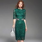 Elbow-Sleeve Rhinestone Lace Dress 1596