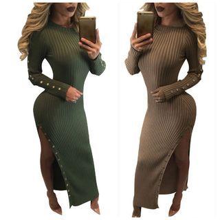 Side Slit Rib Knit Dress 1055583474
