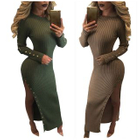 Side Slit Rib Knit Dress 1596