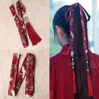 Image of Crane Print Tassel Hair Tie