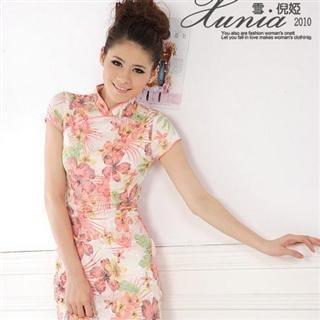 Buy Xunia Mesh-Hem Floral-Print Cheongsam 1022823185