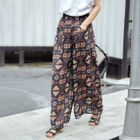 Ethnic-Print Wide-Leg Chiffon Pants 1596