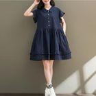 Short-Sleeve Frilled Dress 1596