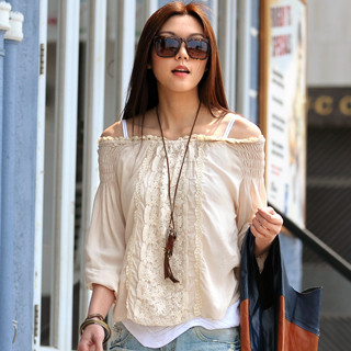 LaceDetail Blouse Beige  One Size