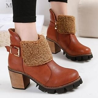 Fleece Panel Buckled Heel Ankle Boots
