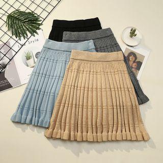 Image of Elastic Waist Frilled Trim Knit Skirt