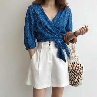 Image of Dotted V-Neck Elbow-Sleeve Blouse