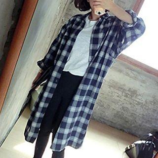 plaid-long-blouse