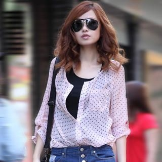 Picture of 19th Street Tab-Sleeve Dotted Chiffon Blouse 1023058297 (19th Street Apparel, Womens Blouses, China Apparel, China Blouses)