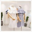 Ruffle Trim Cut Out Shoulder Short Sleeve Dress 1596