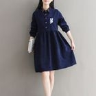 Embroidered Long-Sleeve Collared Dress 1596