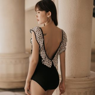 Image of Polka Dot Ruffle Trim Open-Back Swimsuit