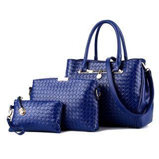 Set: Woven Faux Leather Handbag + Zip Pouch + Coin Purse 1055808512