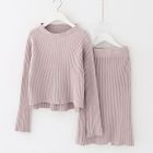 Set: Plain Ribbed Sweater + Knit Skirt 1596