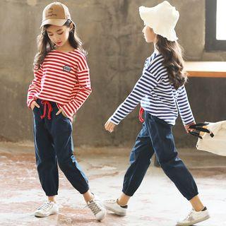 Long-sleeve   Drawstring   T-Shirt   Stripe   Pant   Kid