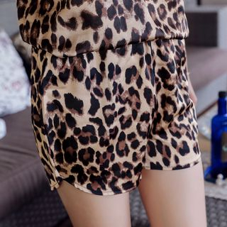 Image of Leopard Print Wide-Leg Shorts