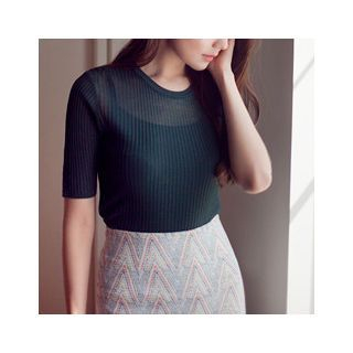 Round-Neck Ribbed Knit Top 1051050120