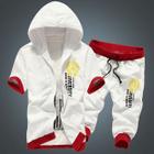 Set : Letter Short-Sleeve Hooded Jacket + Shorts 1596
