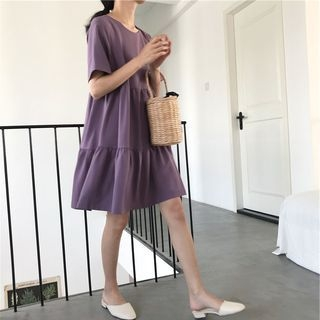 Plain Short-Sleeve A-Line Dress 1066667952