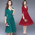 Elbow-Sleeve Gathered-Waist A-Line V-Neck Lace Sheath Dress 1596