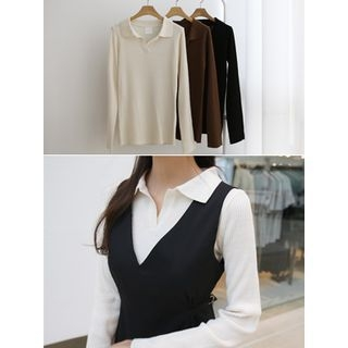 Open-Placket Ribbed Knit Shirt 1062452250