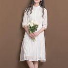 Plain Band Collar Elbow Sleeve Chiffon Dress 1596