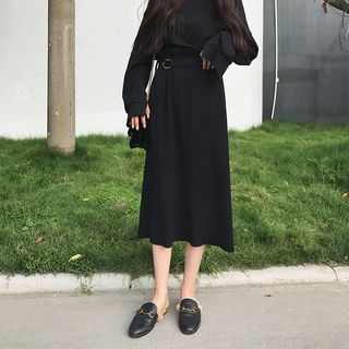 Image of High-Waist Midi Knit Dress